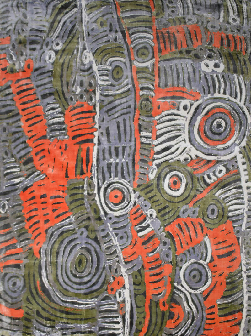 Akarley by Charmaine Pwerle - Indigenours rug design in orange, green and grey colours