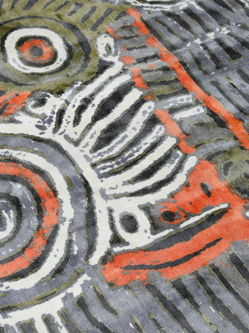 Akarley by Charmaine Pwerle - Indigenours rug design in orange, green and grey colours - detail image