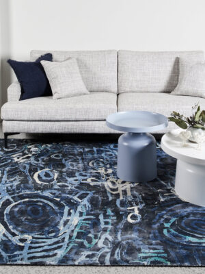 Anjurra by Charmaine Pwerle - Indigenours rug design in blue colours