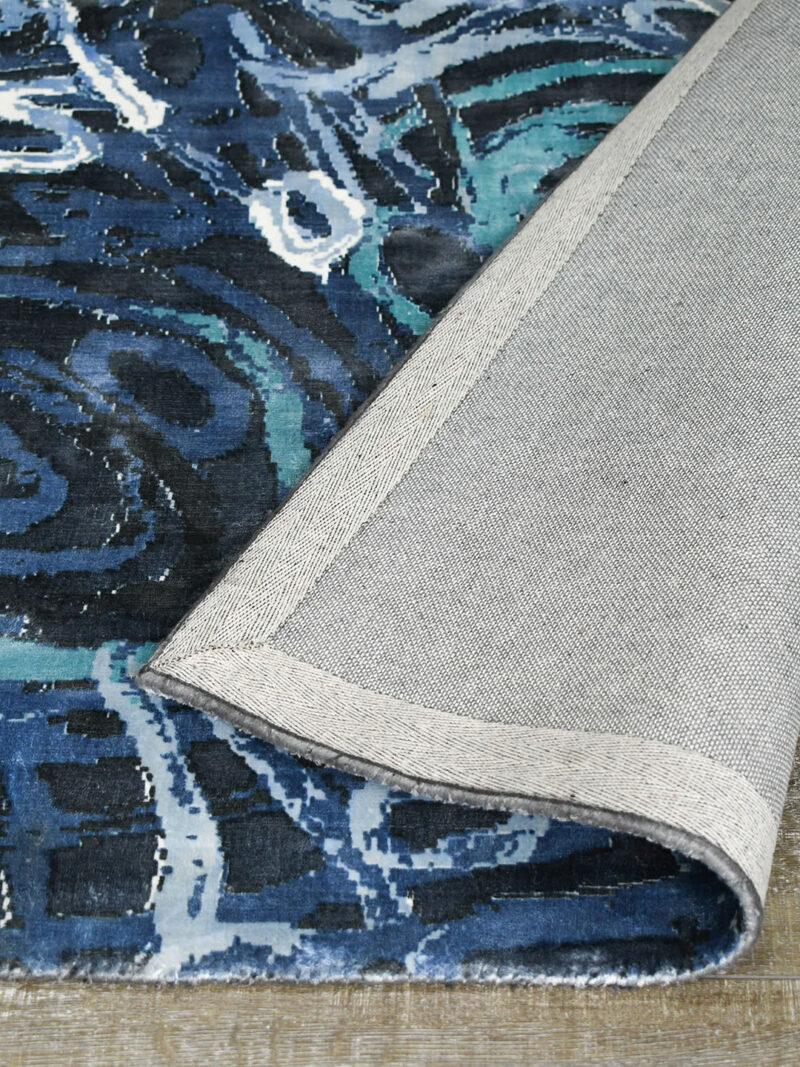Anjurra by Charmaine Pwerle - Indigenours rug design in blue colours - backing image