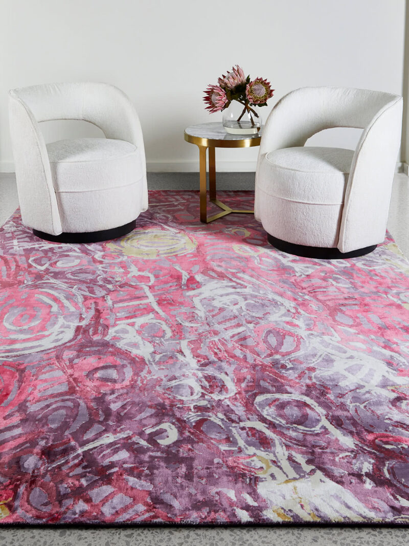 Malangka by Charmaine Pwerle - Indigenours rug design in pink and purple colours