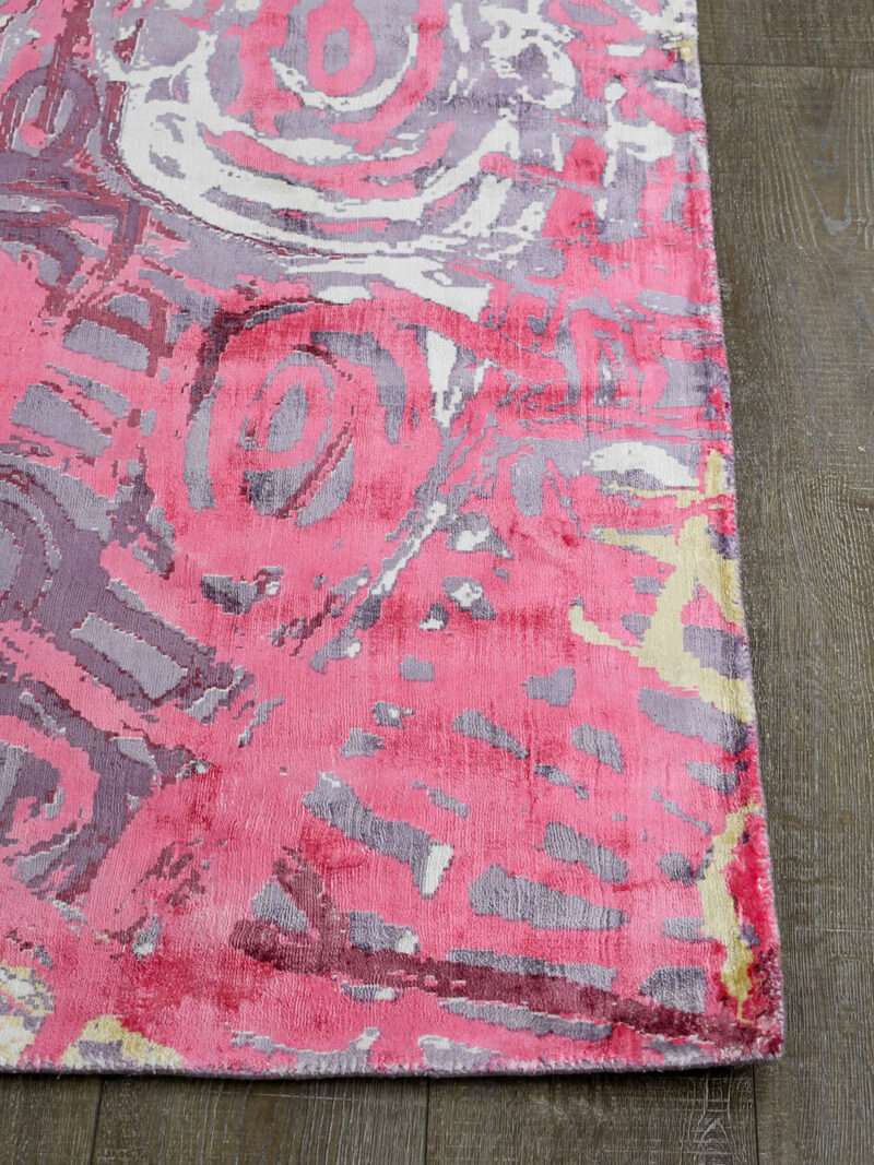 Malangka by Charmaine Pwerle - Indigenours rug design in pink and purple colours - corner image