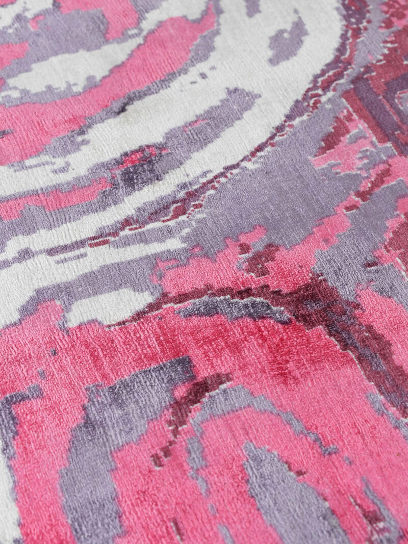 Malangka by Charmaine Pwerle - Indigenours rug design in pink and purple colours - close up detail