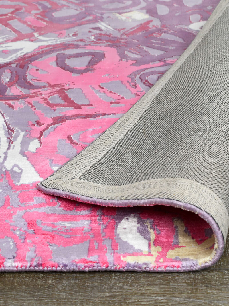 Malangka by Charmaine Pwerle - Indigenours rug design in pink and purple colours - backing image